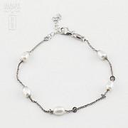 Pulsera en plata y perlas - 2