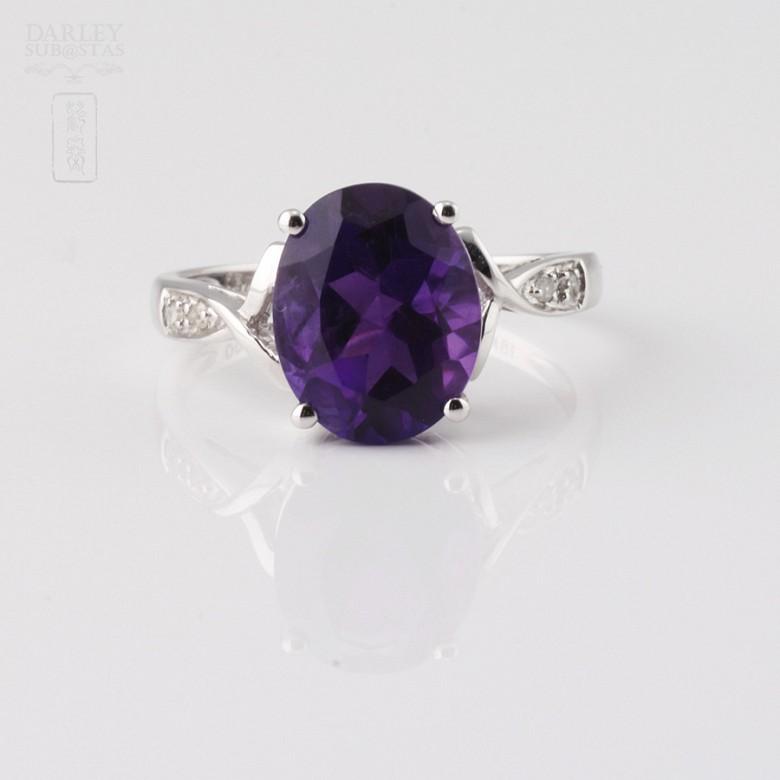 3.08克拉天然紫晶配钻石18K白金戒指