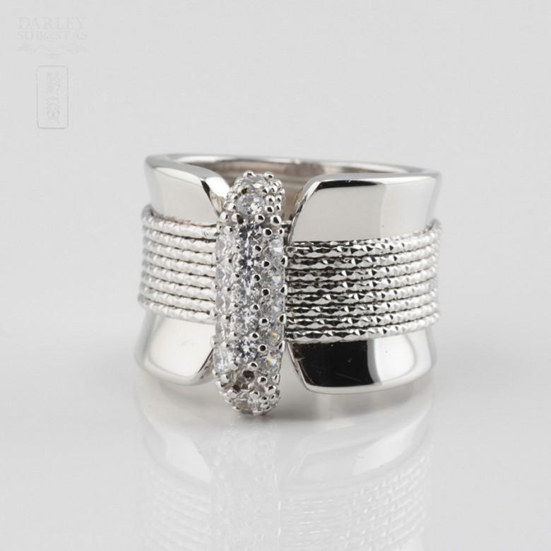 925银镀白金镶圆锆石戒指 - 4
