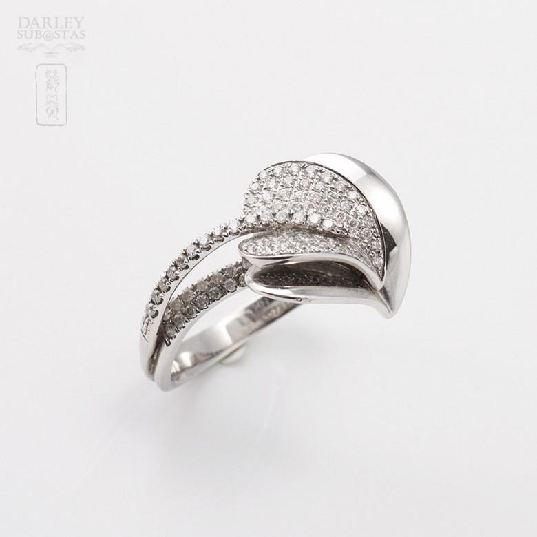 Anillo Diamantes en oro blanco de 18k. - 1