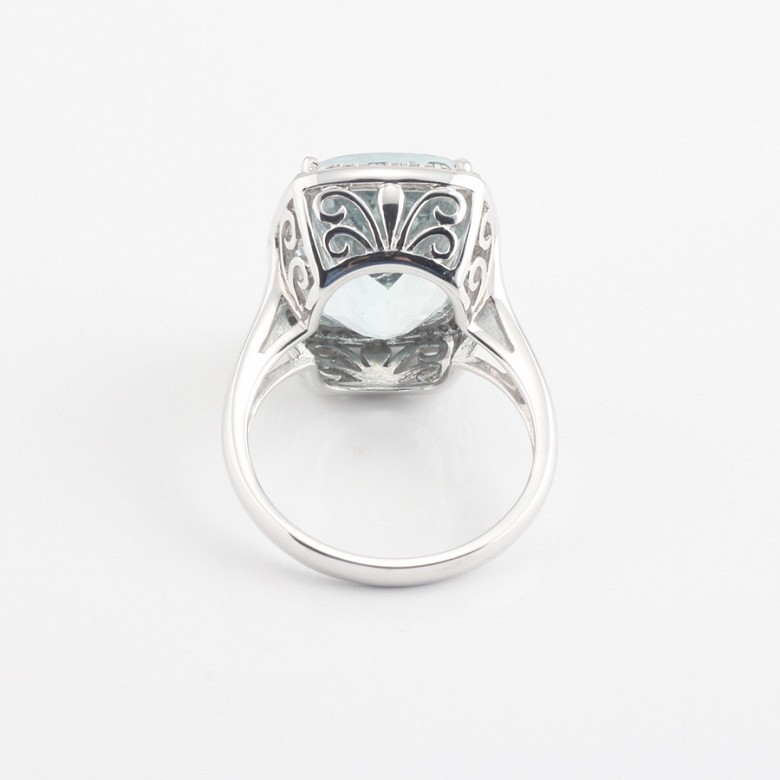 Ring with 10.09cts aquamarine  and diamonds inj white gold - 3