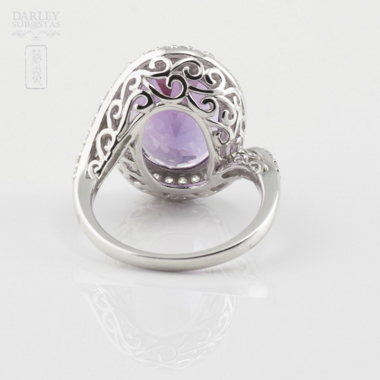 Precioso anillo diamantes y amatista - 3