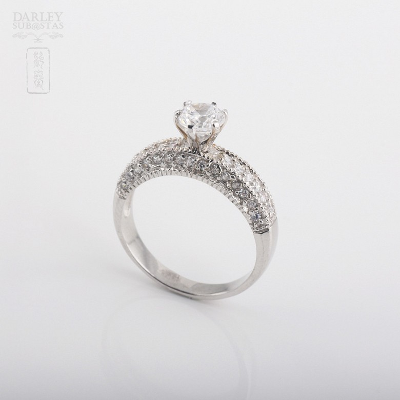 Ring in sterling silver, 925m / m, with rhodium. - 1