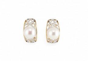 Pendientes perlas en oro amarillo de 18k  y diamantes