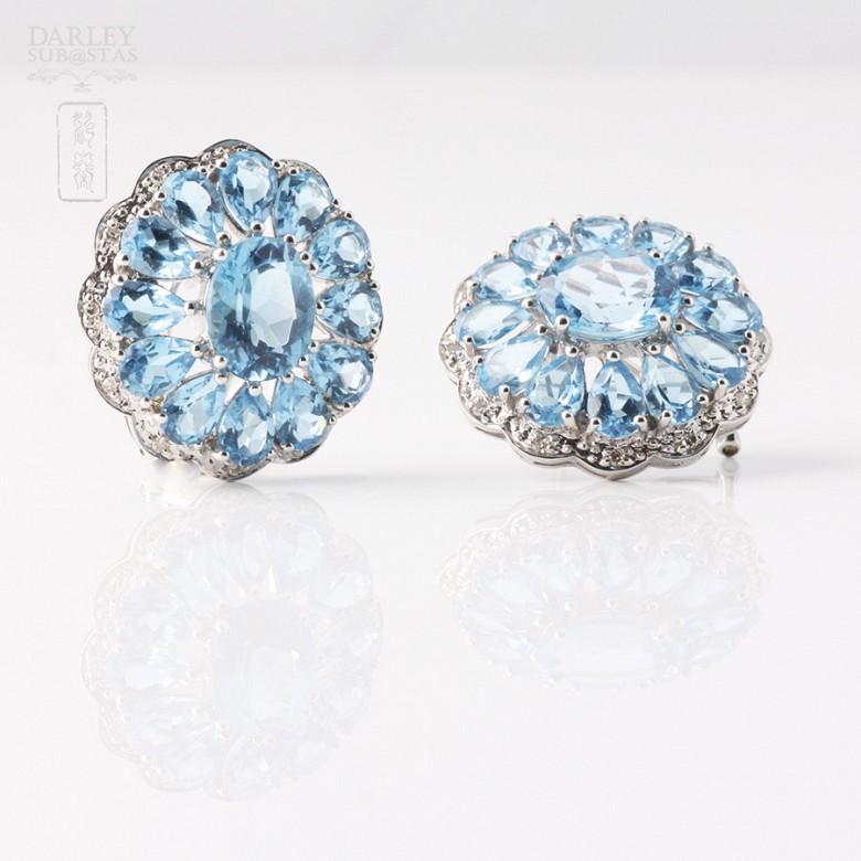 17.29克拉天然蓝晶配钻石18K白金耳环