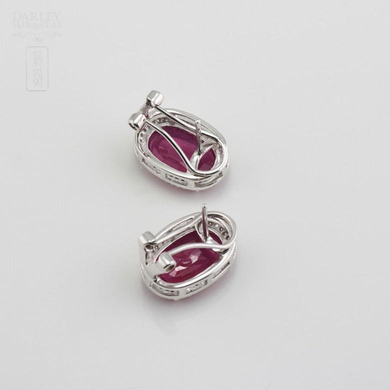10.05克拉天然红宝石配钻石18K白金耳环 - 2