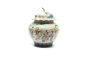 Tibor con tapa con forma de calabaza de porcelana china, s.XX