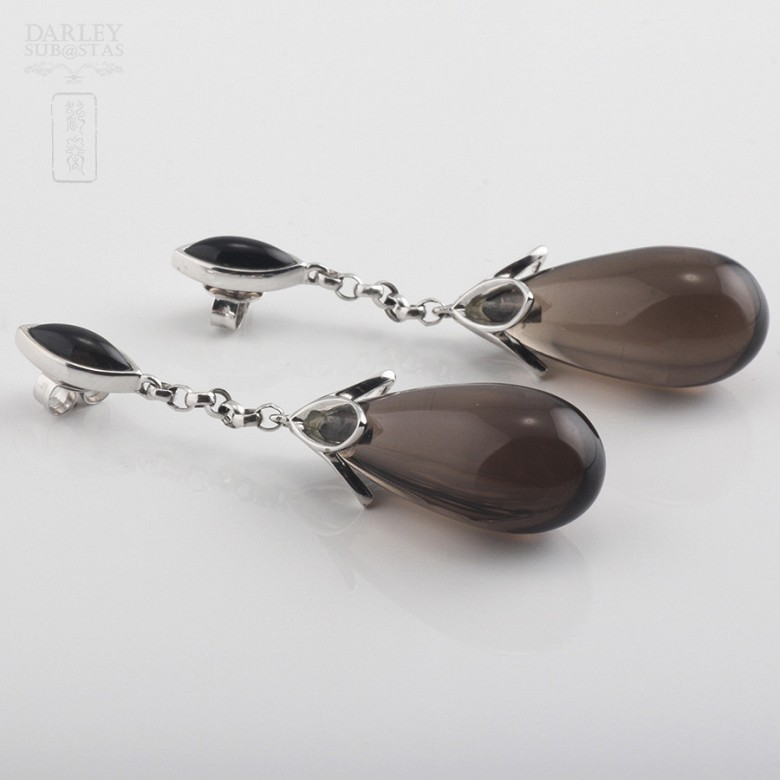 Earrings  smoky quartz 33,23cts  and diamonds in white gold - 4