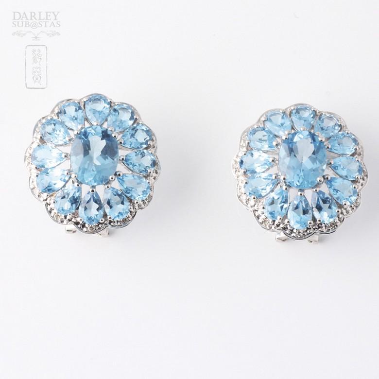 17.29克拉天然蓝晶配钻石18K白金耳环 - 2