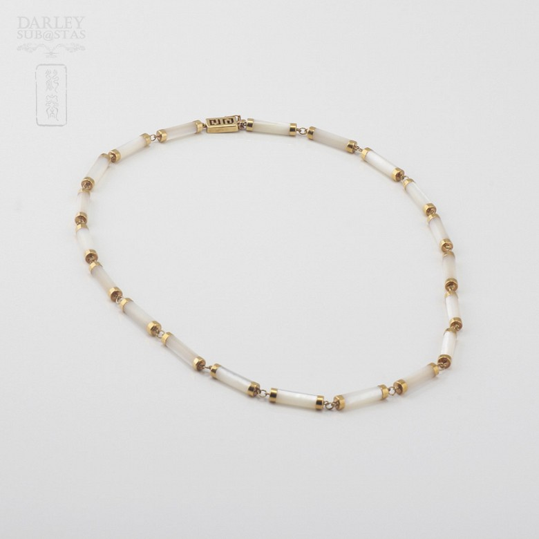 Necklace Natural nacre  in yellow gold - 3