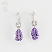 Amethyst and diamond earrings detachable