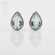 Earrings with aquamarine 4.81cts and diamonds in White Gold - 3