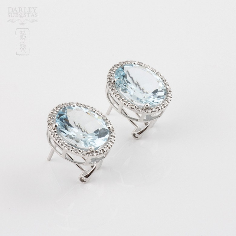earrings with 7.24cts Aquamarine and diamond 18k - 2