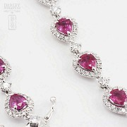 18k white gold bracelet with rubies and diamonds. - 2