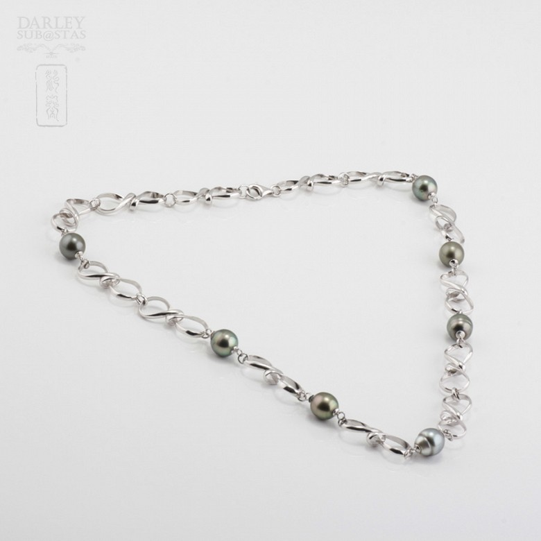 Natural Necklace Tahitian pearls in sterling silver, 925 - 1