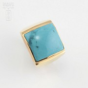 18k yellow gold and natural turquoise ring - 2