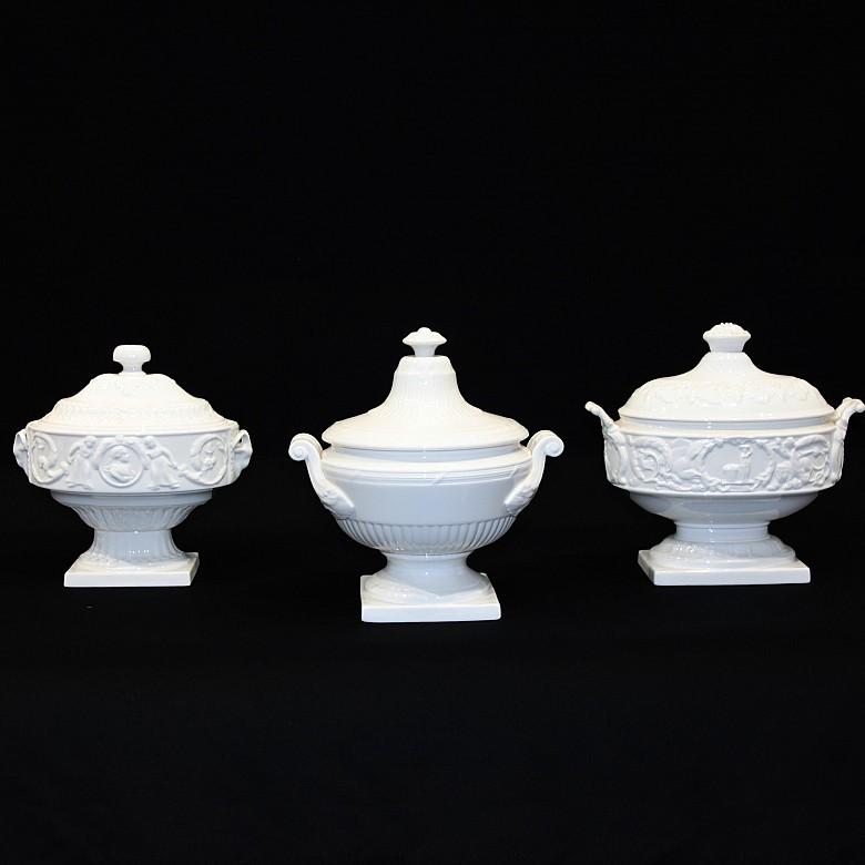 Three decorative enameled ceramic cups, 20th century