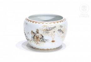 Vasija de porcelana esmaltada con dioses budistas, s.XX