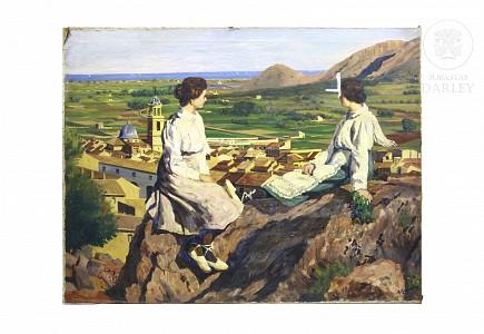 "Escuela valenciana s.XX ""Mujeres descansando"""