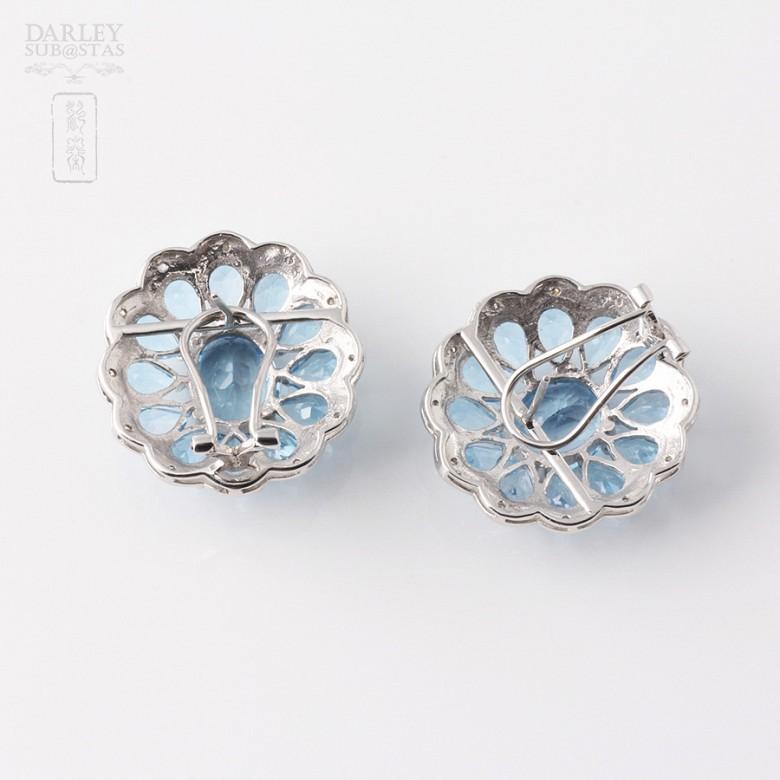17.29克拉天然蓝晶配钻石18K白金耳环 - 1