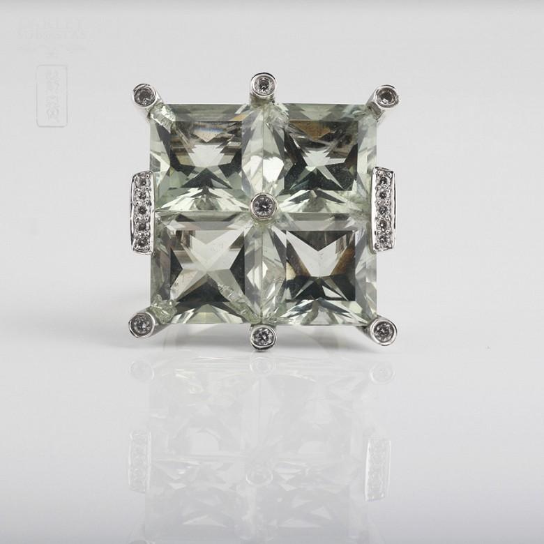 28.17克拉天然绿紫晶配钻石18K白金戒指 - 2