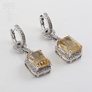 Pendientes largos con citrino 6.34cts y diamantes en oro blanco