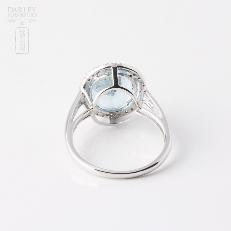 Ring Aquamarine 3.95cts and diamond in White Gold - 2