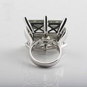 28.17克拉天然绿紫晶配钻石18K白金戒指 - 3