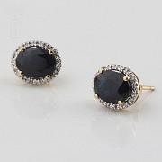 Bonitos pendientes zafiros y diamantes - 2