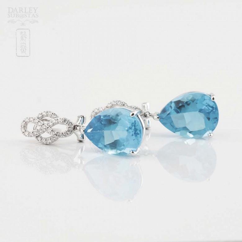 18k白金镶蓝晶配钻石耳环