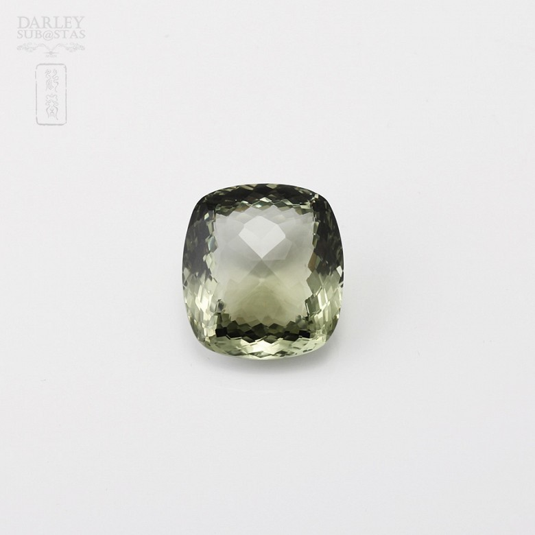 Amethyst 38.40 ctintense olive green cushion-cut and faceted