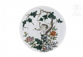 Enameled dish with birds, flowers and trees, 20th century