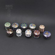 Set of 10 jars with lids Chinese cloisonne - 1