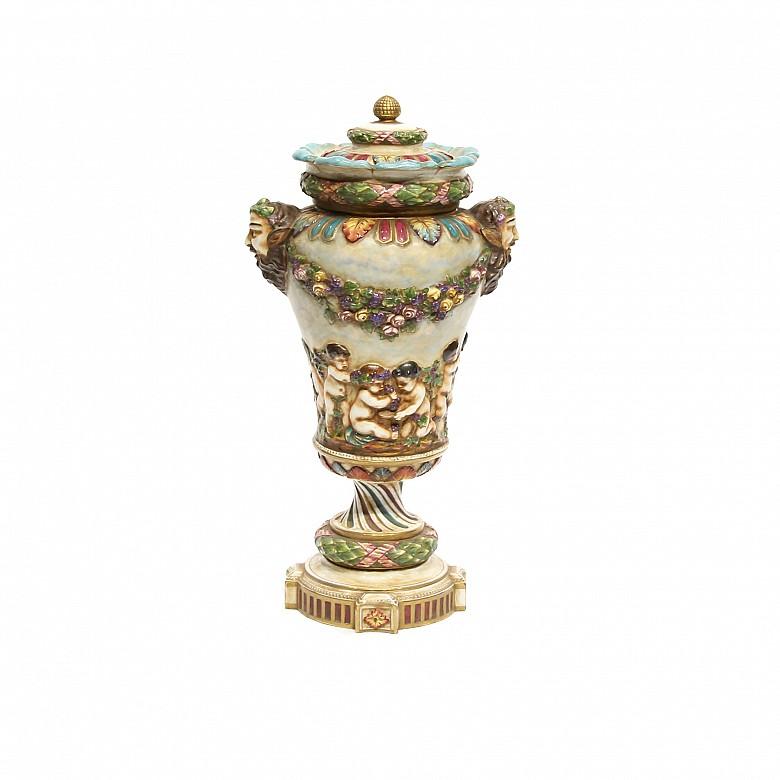 Enameled porcelain cup, Capodimonte, 20th century