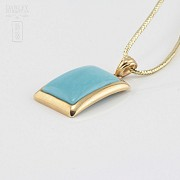 Pendant in 18k yellow gold and natural turquoise - 1