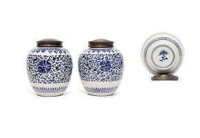 Pareja de vasijas en porcelana china, s.XIX