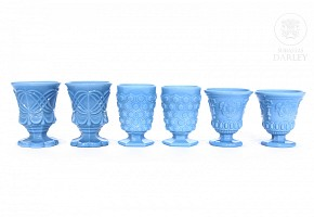 Lot of blue opaline glass cups molded, ca.1900