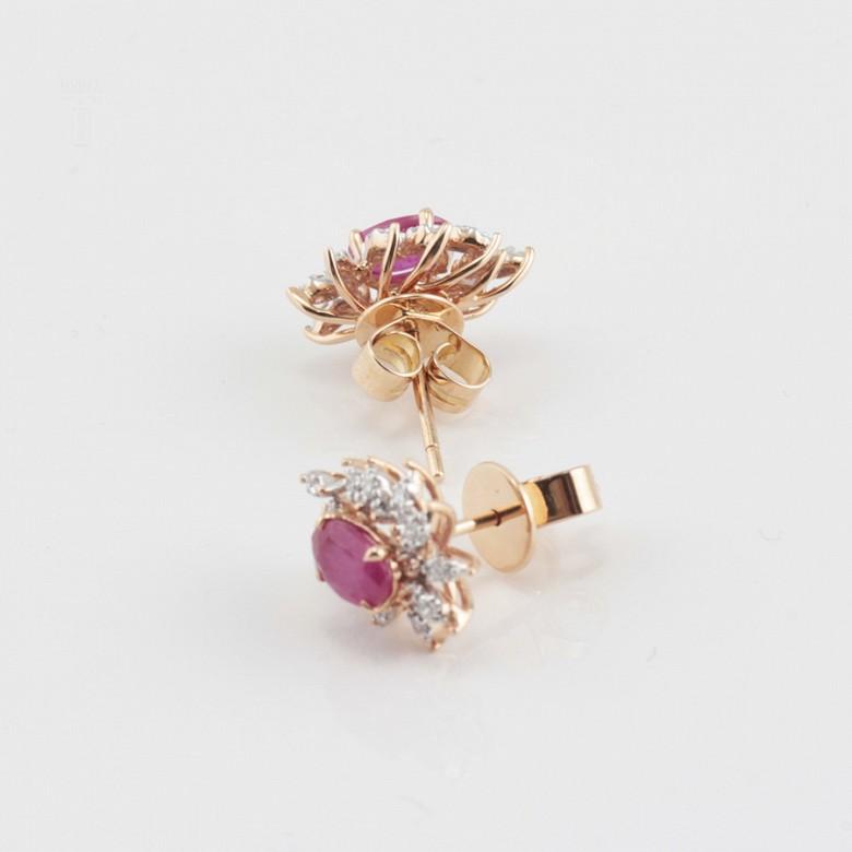 18k rose gold earrings, ruby and diamondss - 2