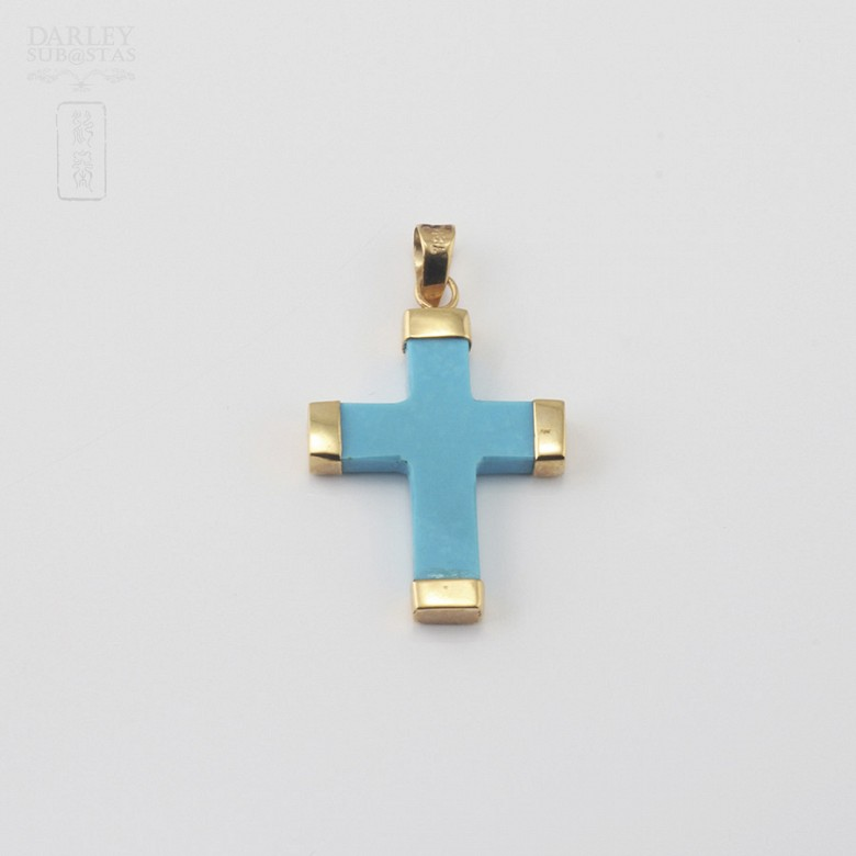 Pendant with Natural Turquoise in  Yellow Gold - 2