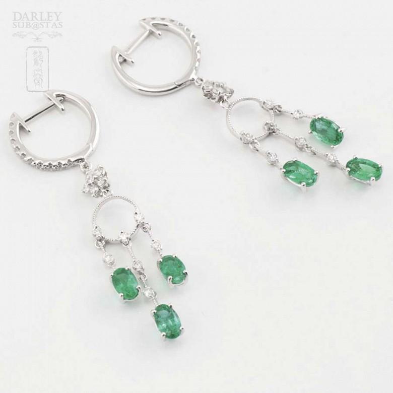 18K白金配1.46克拉祖母绿镶0.52克拉钻石耳环 - 6