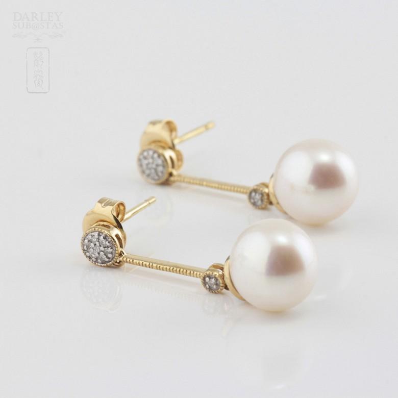 18K黄金配圆白珍珠钻石耳环 - 1