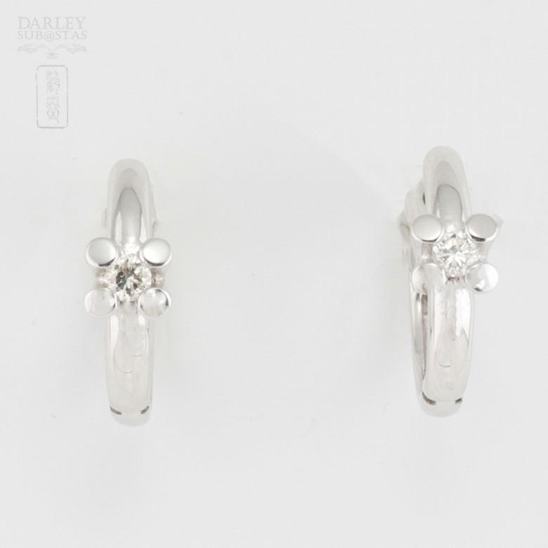 18K白金镶钻石耳环 - 4