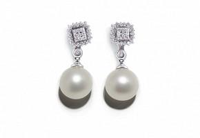 Pendientes desmontables de oro blanco de 18k, diamantes y perlas australianas