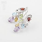 Fantastic 18k white gold earrings with semiprecious gems and diamonds - 3