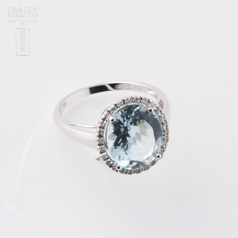 Ring Aquamarine 3.95cts and diamond in White Gold - 1