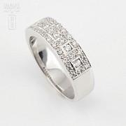 Precioso anillo diamantes 0.46cts y oro blanco 18k - 1