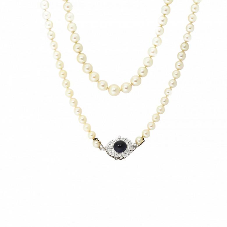 Collar de perlas AKOYA en disminución de aprox. 5-9mm
