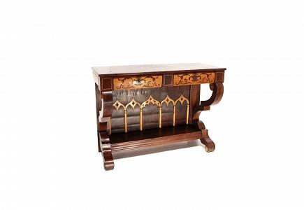 Consola de madera chapeada en caoba y limoncillo, estilo Fernandino, s.XIX