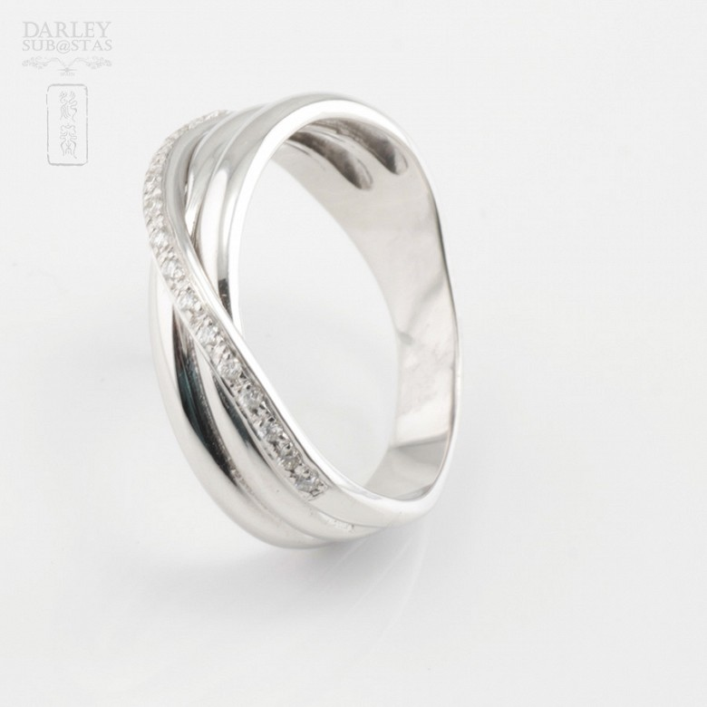 Precioso anillo oro blanco 18k y 0.14cts diamantes - 4