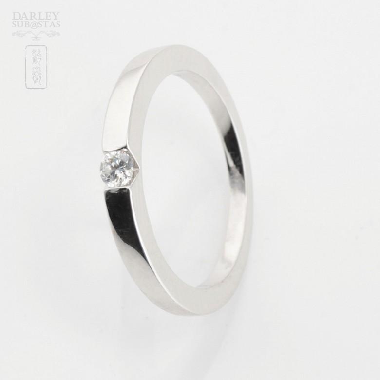 Solitario diamante 0.12cts en oro blanco 18k - 2